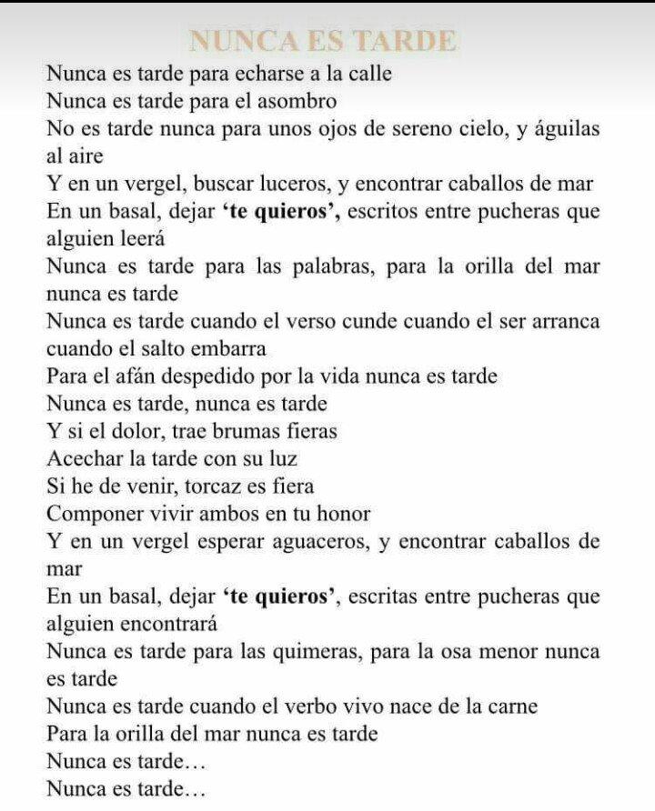 Nunca es tarde, Manolo García