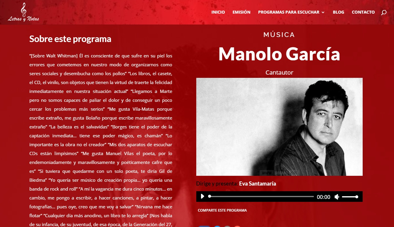 Entrevista a Manolo García, en Letras y Notas, por Eva Santamaría